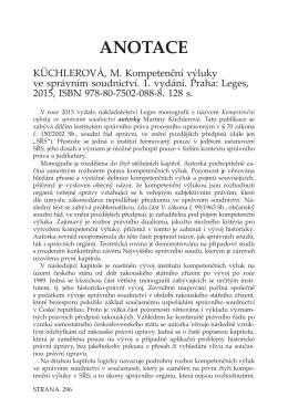 KÜCHLEROVÁ, M. Kompetenční výluky ve správním soudnictví