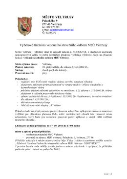 Výběrové řízení na vedoucího stavebního odboru MěÚ Veltrusy