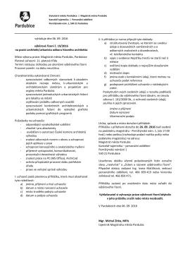 Podmínky výběrového řízení č. 19/2016