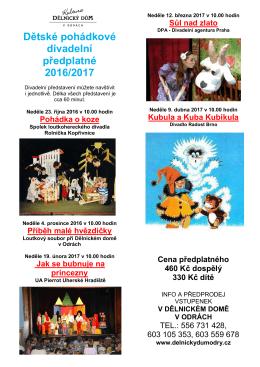 Dětské pohádkové divadelní předplatné 2016/2017