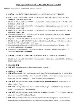 Zápis z jednání STK KFŽ č. 10 / 2016