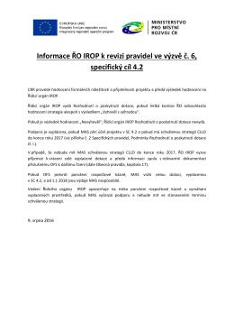Informace ŘO IROP k revizi pravidel ve výzvě č. 6