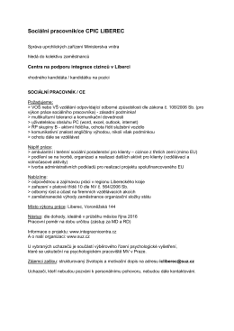 Sociální pracovník/ce CPIC LIBEREC