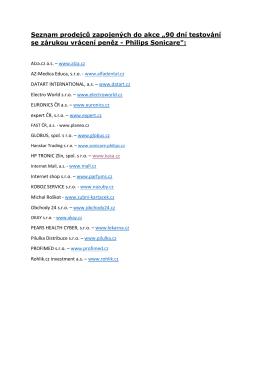 """Seznam prodejců zapojených do akce """"90 dní testování se"""