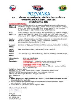 pozvánka - HC ENERGIE 2004