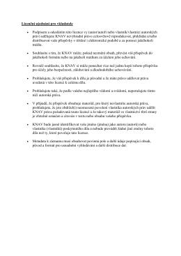 Licenční ujednání pro vkladatele Podpisem a odesláním této licence
