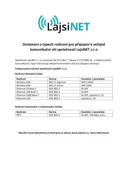 Oznámení o typech rozhraní pro připojení k veřejné - Lajsi