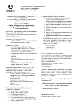 Podmínky výběrového řízení č. 20/2016