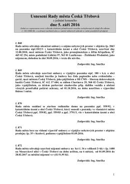Usnesení Rady města Česká Třebová z jednání konaného dne 5.9