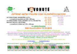 Akční ceny výkupu olověných baterií 10.09.2016