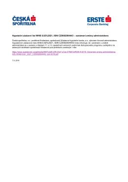 Hypoteční zástavní list WHB 0,92/21 - oznámení
