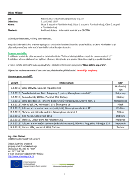 Program a harmonogram semináře