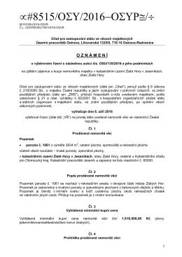 Výběrové řízení s následnou aukcí - OSU/135/2016