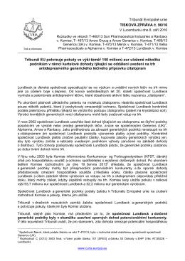 Tribunál EU potvrzuje pokuty ve výši téměř 150 - curia