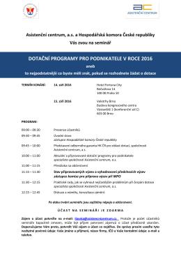 Pozvánka - Hospodářská komora České republiky