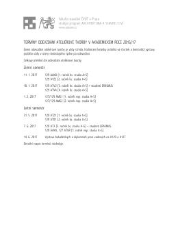 Závazný harmonogram odevzdávání ateliérové tvorby na programu