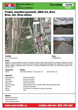 Prodej, stavební pozemek, 2800 m2, Brno Brno, okr. Brno