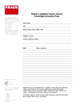 Žádost o zapůjčení vzorků Cambridge University Press