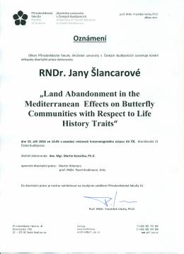 RNDr. Jany Slancarove - Přírodovědecká fakulta JU