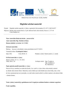 pracovní list - SZŠ a VOŠ zdravotnická České Budějovice