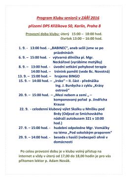 Program Klubu seniorů v ZÁŘÍ 2016 přízemí DPS Křižíkova 50