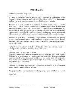 prohlášení - SŠTE Brno, Olomoucká 61