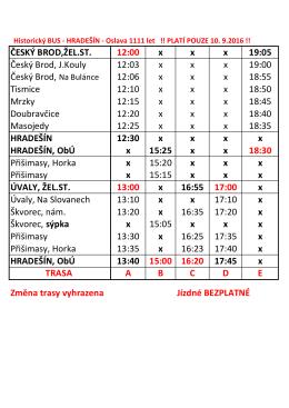 ČESKÝ BROD,ŽEL.ST. 12:00 x x x 19:05 Český Brod, J.Kouly 12:03