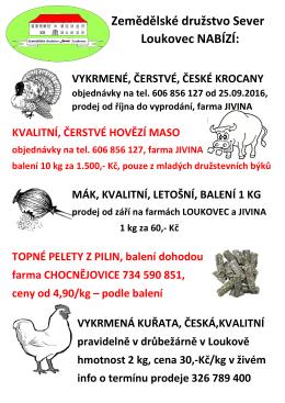 prodej 2016 univerzální - Zemědělské družstvo Sever Loukovec
