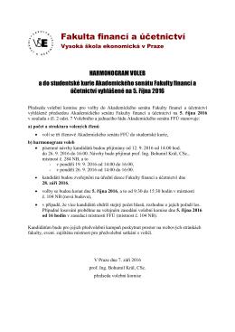 Volební harmonogram - Fakulta financí a účetnictví Vysoké školy