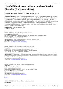 Týmy 2015 Oddělení pro studium moderní české filosofie