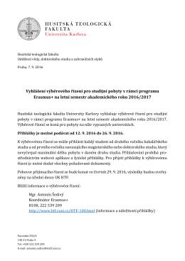 Plné znění vyhlášení - Husitská teologická fakulta