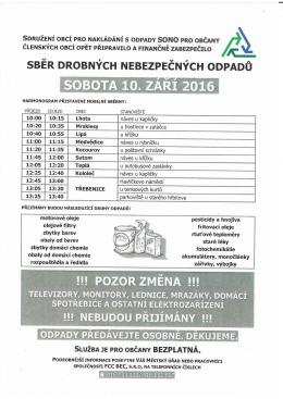 Sběr drobných nebezpečných odpadů dne 10.09.2016