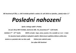 MS Hostinné při ČRS, zs MO Vrchlabí pořádá v - crsmo