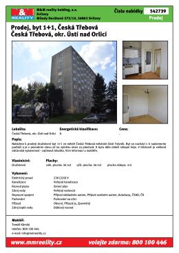 Prodej, byt 1+1, Česká Třebová Česká Třebová, okr. Ústí nad Orlicí
