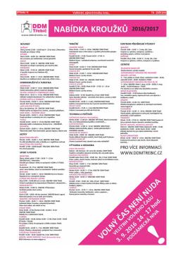 STRANA 16 TN - ZÁŘÍ 2016 Vzdělávání, zájmové kroužky, kurzy