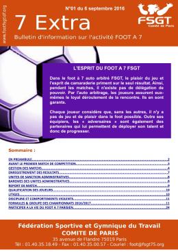 L`ESPRIT DU FOOT A 7 FSGT N°01 du 6 septembre 2016