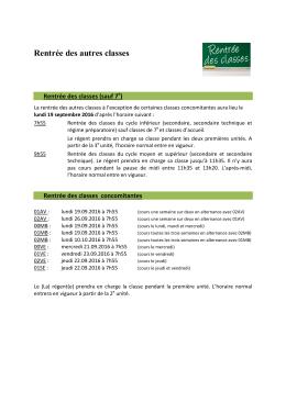 déroulement de la rentrée des autres classes à partir du lundi 19.09
