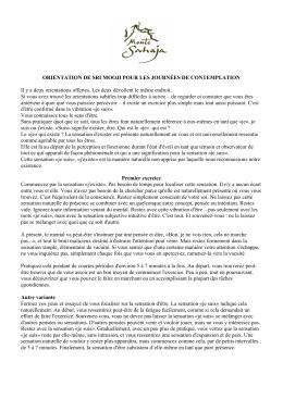 ORIENTATION DE SRI MOOJI POUR LES JOURNÉES