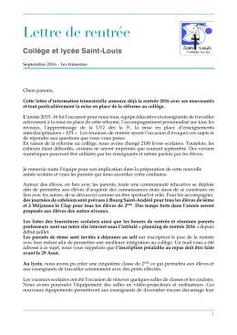 Lettre de rentrée - Collège et Lycée Saint Louis – Orange