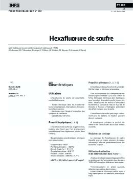 Hexafluorure de soufre (FT 102) - Fiche toxicologique
