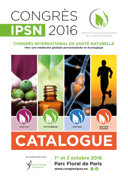 CATALOGUE - Congrès international de Santé Naturelle