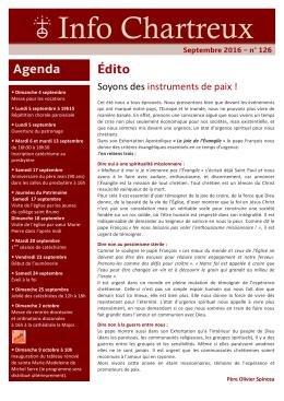 Info Chartreux du mois de septembre