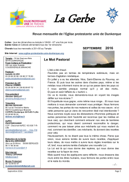 Revue mensuelle de l`Eglise protestante unie de Dunkerque Le Mot