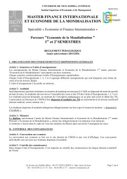 Economie de la Mondialisation - Université Nice Sophia Antipolis