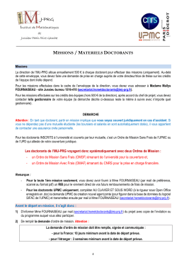 missions / materiels doctorants - IMJ-PRG