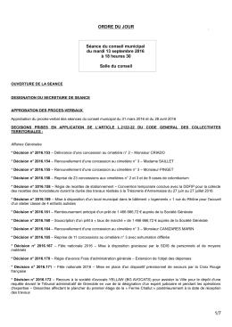 Ordre du Jour du Conseil Municipal du 13 septembre 2016