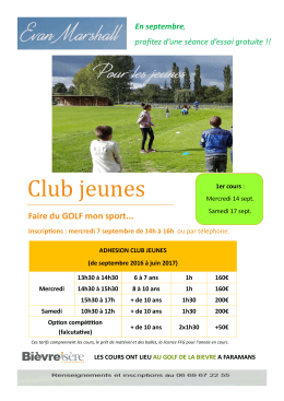 CJ affiche A4 2016-2017 - AS du Golf de la Bièvre