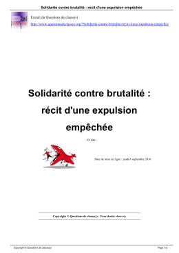 Solidarité contre brutalité : récit d`une expulsion empêchée
