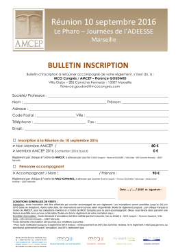 Télécharger le bulletin d`inscription