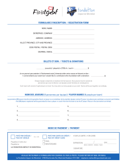 FORMULAIRE D`INSCRIPTION / REGISTRATION FORM MODE DE